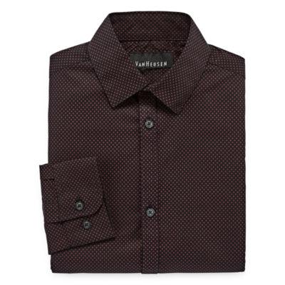 Van Heusen Long Sleeve Yarn Dyed Woven Dress Shirt - Big Kid Boys