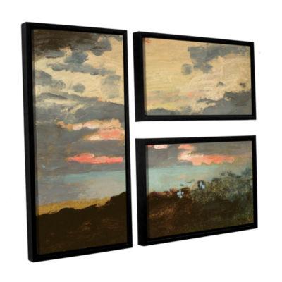 Brushstone Sunset; Saco Bay 3-pc. Flag Floater Framed Canvas Wall Art
