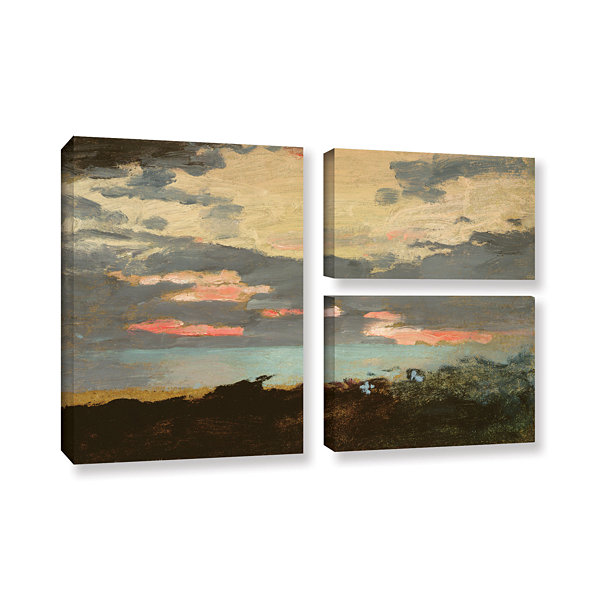 Brushstone Sunset; Saco Bay 3-pc. Flag Gallery Wrapped Canvas Wall Art