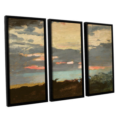 Brushstone Sunset Saco Bay 3-pc. Floater Framed Canvas Wall Art