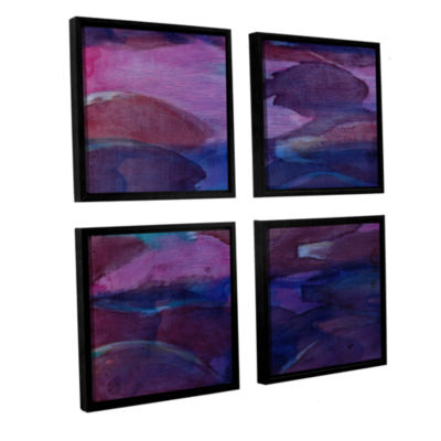 Brushstone Purple Parrots VI; 2000 4-pc. Square Floater Framed Canvas Wall Art
