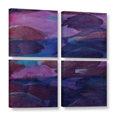 Brushstone Purple Parrots VI 2000 4-pc. Square Gallery Wrapped Canvas Wall Art