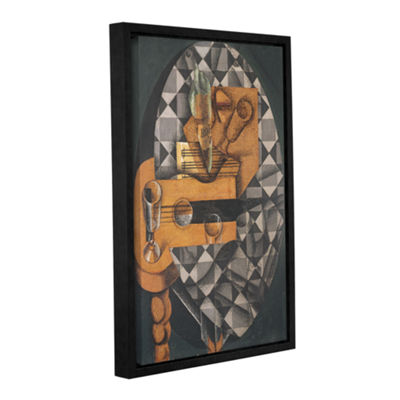 Brushstone Guitar Bottle and Glass 1914 Gallery Wrapped Floater-Framed Canvas Wall Art