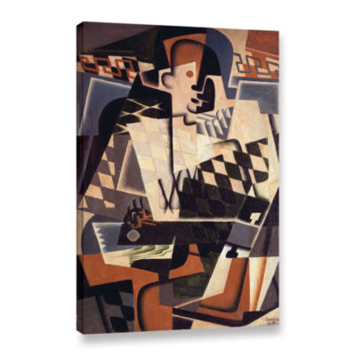 Brushstone Harlequin with a Guitar;1917 Gallery Wrapped Canvas Wall Art