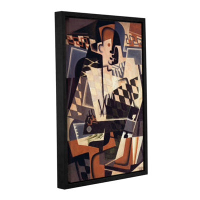Brushstone Harlequin with a Guitar;1917 Gallery Wrapped Floater-Framed Canvas Wall Art