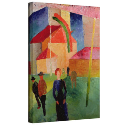 Brushstone Church Decorated with Flags Gallery Wrapped Canvas Wall Art
