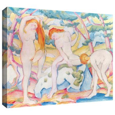 Brushstone Elephant Horse and Cow Gallery WrappedCanvas Wall Art