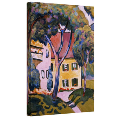 Brushstone House in a Landscape Gallery Wrapped Canvas Wall Art