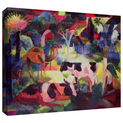 Brushstone Landscape with Cows and a Camel GalleryWrapped Canvas Wall Art