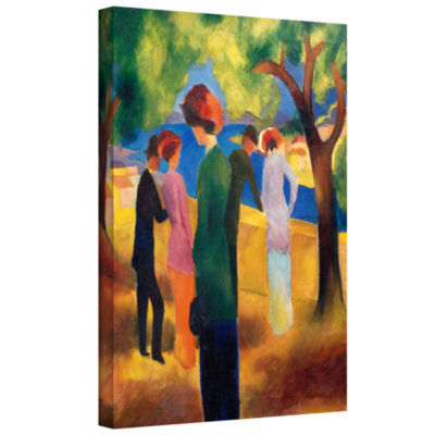 Brushstone Man on Lakeside Terrace Gallery WrappedCanvas Wall Art