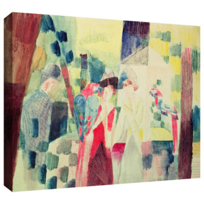Brushstone Two Women and a Man with Parrots Gallery Wrapped Canvas Wall Art