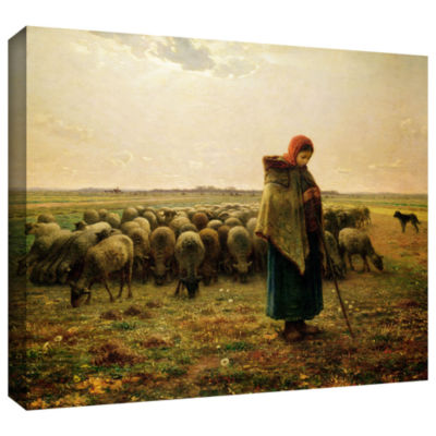 Brushstone Sheperdess with Her Flock Gallery Wrapped Canvas Wall Art