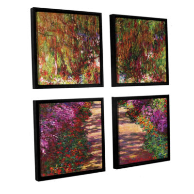 Brushstone A Pathway in Monet's Garden 4-pc. Square Canvas Wall Art