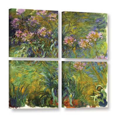 Brushstone Agapanthus; 1914-26 4-pc. Square Gallery Wrapped Canvas Wall Art