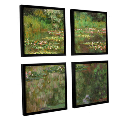 Brushstone The Water Lily Pond (Nymoheas) 1904 4-pc. Square Floater Framed Canvas Wall Art