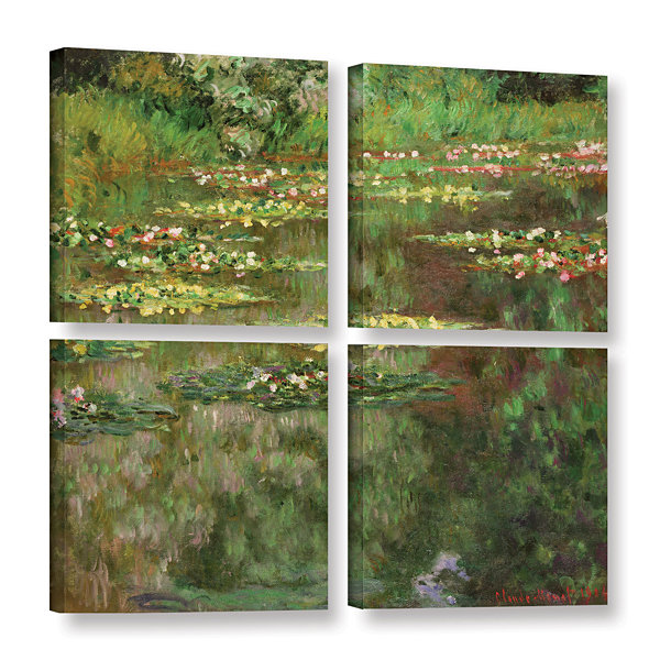 Brushstone The Water Lily Pond (Nymoheas) 1904 4-pc. Square Gallery Wrapped Canvas Wall Art