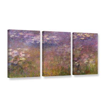 Brushstone Water Lilies (Agapanthus) 1915-26 3-pc.Gallery Wrapped Canvas Wall Art