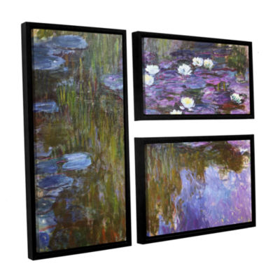 Brushstone Water Lilies; 1919-20 3-pc. Flag Floater Framed Canvas Wall Art