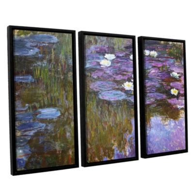 Brushstone Water Lilies; 1919-20 3-pc. Floater Framed Canvas Wall Art