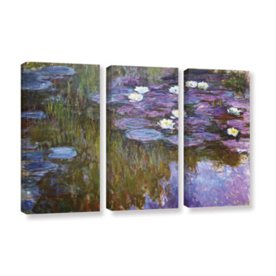Brushstone Water Lilies 1919-20 3-pc. Gallery Wrapped Canvas Wall Art