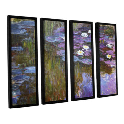Brushstone Water Lilies 1919-20 4-pc. Floater Framed Canvas Wall Art