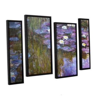 Brushstone Water Lilies; 1919-20 4-pc. Floater Framed Staggered Canvas Wall Art