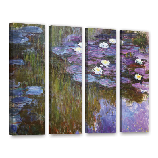 Brushstone Water Lilies 1919-20 4-pc. Gallery Wrapped Canvas Wall Art