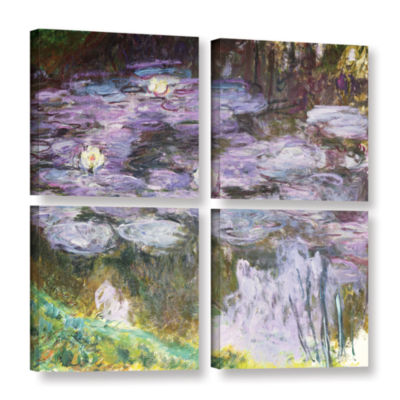 Brushstone Waterlilies 1917 4-pc. Square Gallery Wrapped Canvas Wall Art