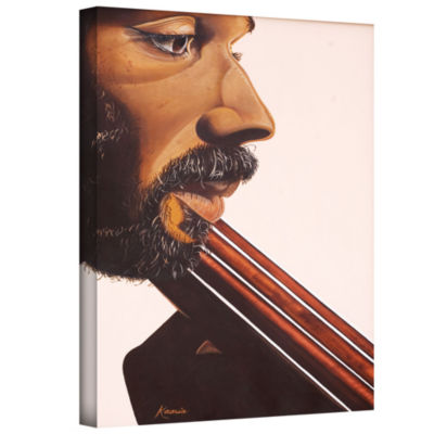 Brushstone Bass Player IV Gallery Wrapped Canvas Wall Art