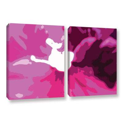 Brushstone Raspberry Crush 2-pc. Gallery Wrapped Canvas Wall Art