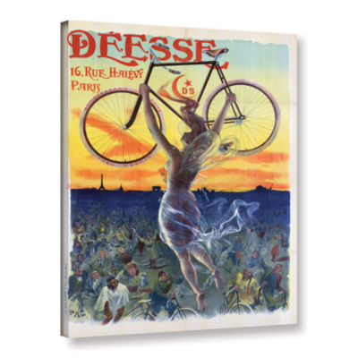 Brushstone Vintage French Poster Of A Goddess WithA Bicycle; c.1898 Gallery Wrapped Canvas Wall Art