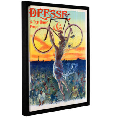 Brushstone Vintage French Poster Of A Goddess WithA Bicycle; c.1898 Gallery Wrapped Floater-FramedCanvas Wall Art