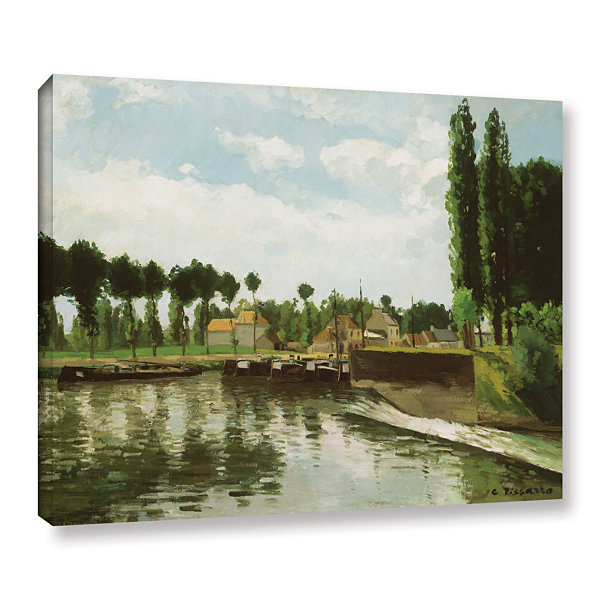 Brushstone The Lock At Pointoise; 1869 Gallery Wrapped Canvas Wall Art