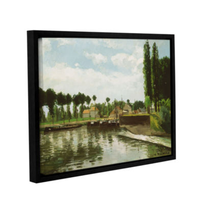 Brushstone The Lock At Pointoise; 1869 Gallery Wrapped Floater-Framed Canvas Wall Art