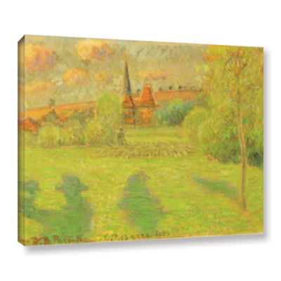 Brushstone The Shepard And The Church Of Eragny; 1889 Gallery Wrapped Canvas Wall Art