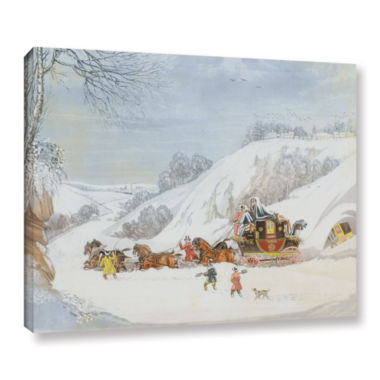 Brushstone A Mail In Deep Snow; Engraved By GeorgeHunt Gallery Wrapped Canvas Wall Art