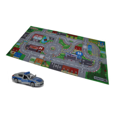 Majorette - Creatix SOS Playmat Playset with 1 Die-Cast Car, 38 Inches x 20 Inches