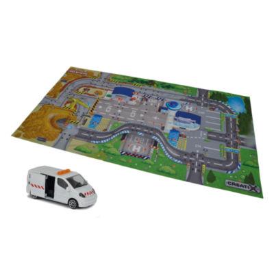 Majorette - Creatix Construction Playmat Playset with 1 Die-Cast Car