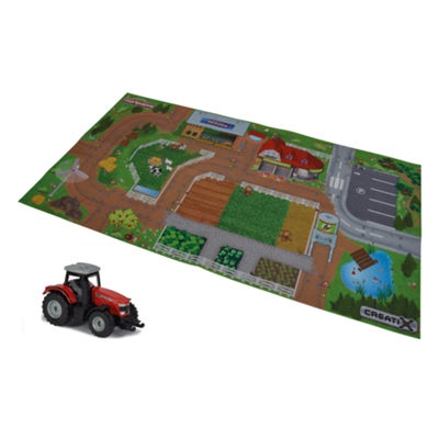 Majorette - Creatix Farm Playmat Playset with 1 Die-Cast Car
