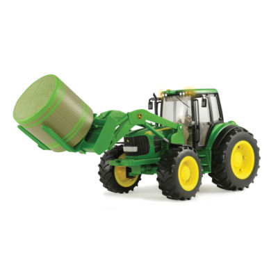 TOMY - 1:16 Scale Big Farm John Deere 7330 with Front Bale Mover and Bale