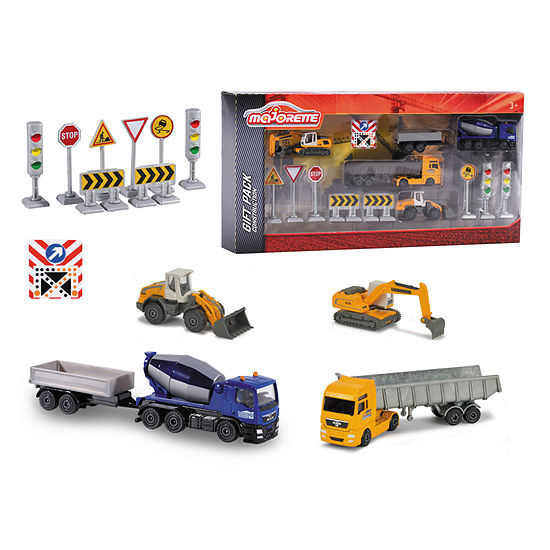 Majorette - Construction Theme Playset with 5 Vehicles