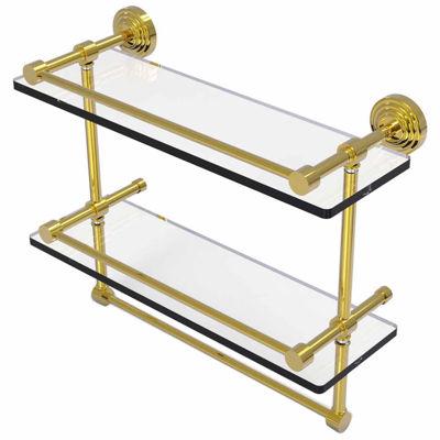 Allied Brass 16 IN Gallery Double Glass Shelf WithTowel Bar