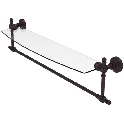 Allied Brass Retro Wave Collection 24 IN  Glass Vanity Shelf  With Integrated Towel Bar