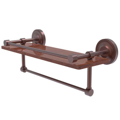 Allied Brass Prestige Regal Collection 16 IN Ipe Ironwood Shelf With Gallery Rail And Towel Bar