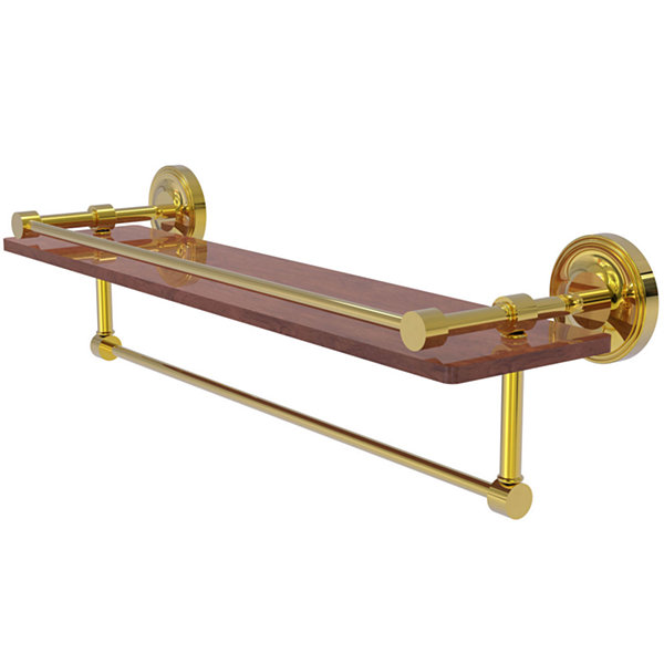 Allied Brass Prestige Regal Collection 22 IN Ipe Ironwood Shelf With Gallery Rail And Towel Bar