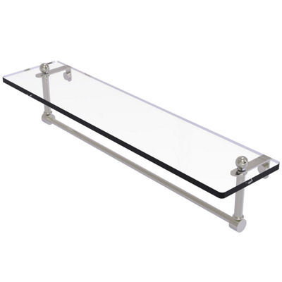 Allied Brass 22 IN Glass Vanity Shelf With Integrated Towel Bar