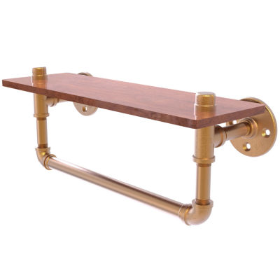 Allied Brass Pipeline Collection 16 IN Ironwood Shelf With Towel Bar