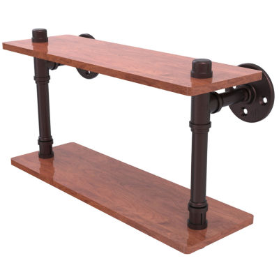 Allied Brass Pipeline Collection 16 IN Ironwood Double Shelf