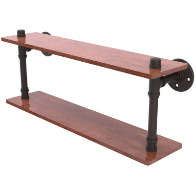 Allied Brass Pipeline Collection 22 IN Ironwood Double Shelf