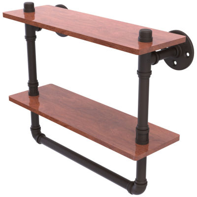 Allied Brass Pipeline Collection 16 IN Double Ironwood Shelf With Towel Bar